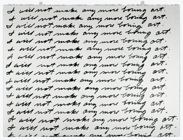John Baldesarri- I Will Not Make Any More Boring Art, 1971. This piece really struck with me because...SIMPSONS.